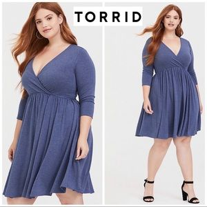 NEW Torrid Blue Heather Skater Dress